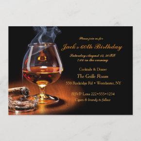 Masculine Cigars & Brandy Cognac Snifter Monogram Invitation
