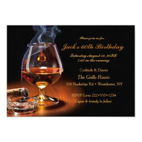 Masculine Cigars & Brandy Cognac Snifter Monogram Invitation