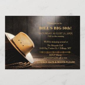 Masculine Rustic Cowboy Hat Rope Wood Western Invitation