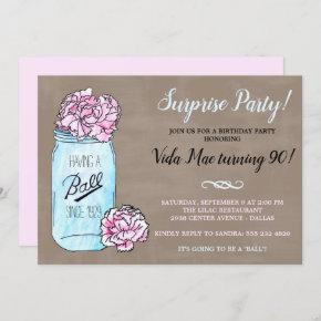 Mason Jar Birthday Party Invitation