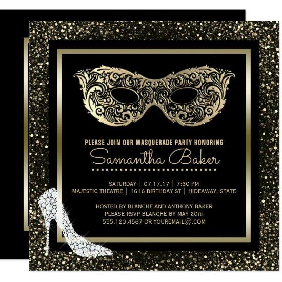 masquerade ball high heels black gold sweet 16 invitations candied