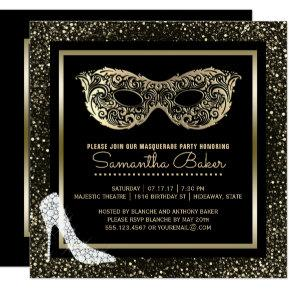 Masquerade Ball High Heels Black Gold Sweet 16 Invitation