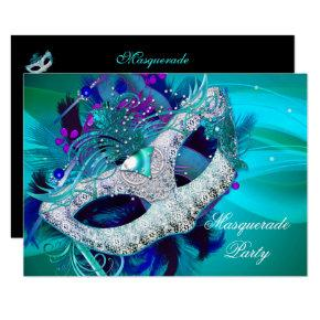 masquerade ball party teal blue purple masks d invitations