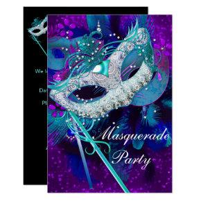 masquerade ball party teal blue purple masks sml invitations