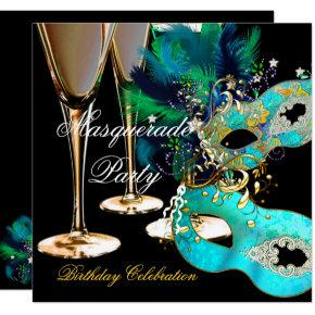 Masquerade Birthday Party Teal Blue Gold Masks Card