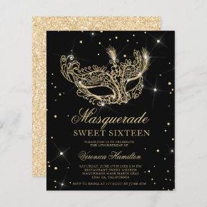 Masquerade black gold glitter mask budget Sweet 16