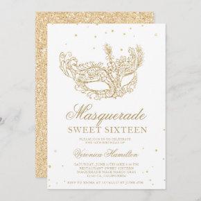 Masquerade black gold glitter mask Sweet 16 Invitation