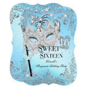 Masquerade Blue Silver Sweet 16 Birthday Card