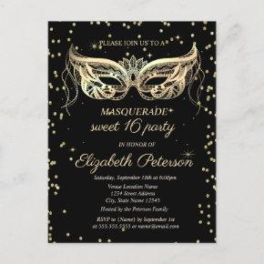 Masquerade Gold Diamonds Sweet 16 Invitation Post