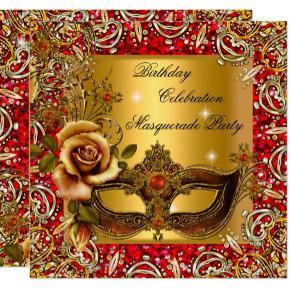 Masquerade Gold Mask Glitter Red Birthday Party Invitation