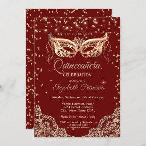Masquerade, Lace, Diamonds Quinceañera Invitation