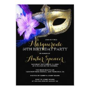 Masquerade Mardi Gras Birthday Party Invitations