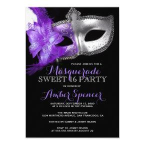 Masquerade Mardi Gras Sweet 16 Birthday Party Invitation