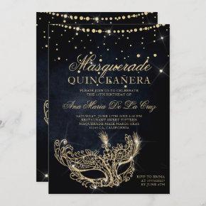Masquerade mask black gold glitter quinceanera invitation