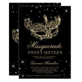 Masquerade mask black gold glitter Sweet 16 Invitation