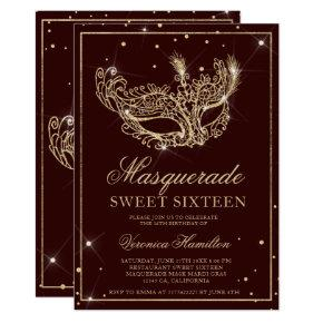 Masquerade mask burgundy gold glitter Sweet 16 Invitation