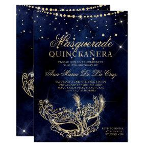 Masquerade mask chic gold glitter quinceanera invitation
