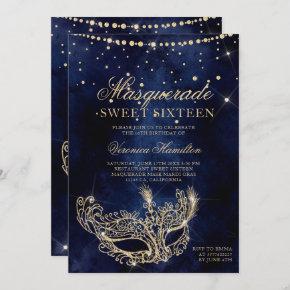 Masquerade mask chic gold glitter sparkle Sweet 16 Invitation