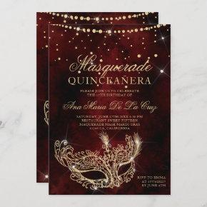Masquerade mask chic red gold glitter quinceanera invitation