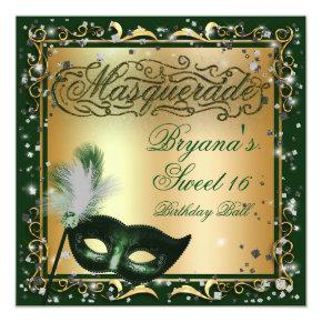 Masquerade Mask Gold & Green Birthday Party Invitation