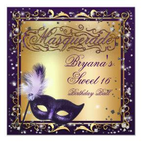 Masquerade Mask Gold & Purple Birthday Party Invitations