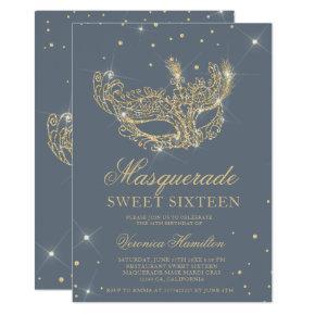 Masquerade mask gray gold glitter Sweet 16 Invitation