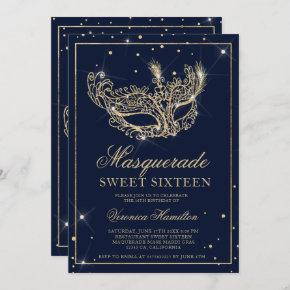 Masquerade mask navy blue gold glitter Sweet 16 Invitation