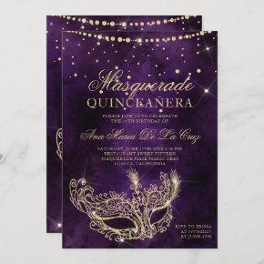 Masquerade mask purple gold glitter quinceanera invitation