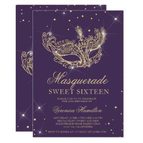 Masquerade mask purple gold glitter Sweet 16 Invitation