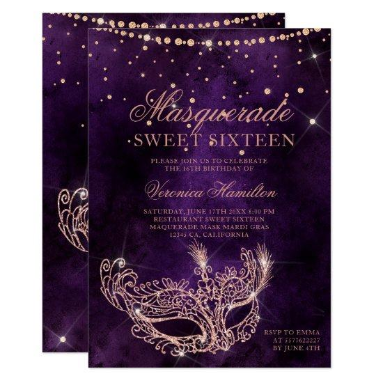Masquerade mask purple rose gold glitter Sweet 16 Invitation