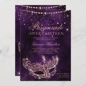 Masquerade mask purple rose gold glitter Sweet 16 Invitation