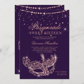 Masquerade mask rose gold glitter purple Sweet 16 Invitation