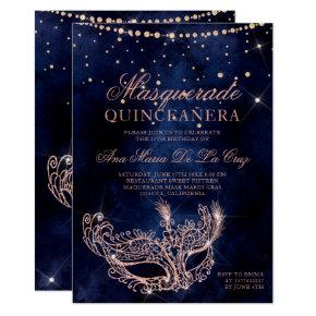 Masquerade mask rose gold glitter quinceanera invitation
