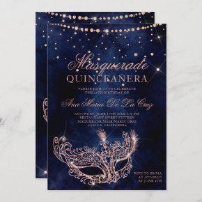 Masquerade mask rose gold glitter quinceanera invitation