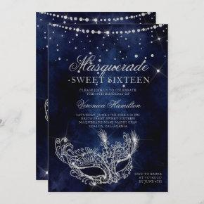 Masquerade mask silver glitter sparkles Sweet 16 Invitation