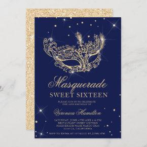 Masquerade navy blue gold glitter mask Sweet 16 Invitation