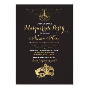 Masquerade Party Birthday Gold Mask Invite