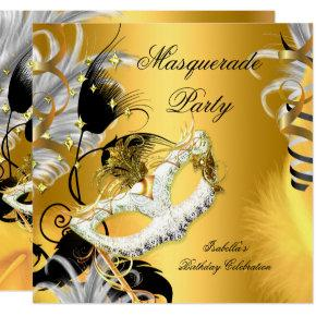 Masquerade Party Birthday Mask Black Gold Card