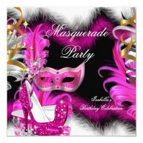 Masquerade Party Birthday Pink Black White 2 Invitations