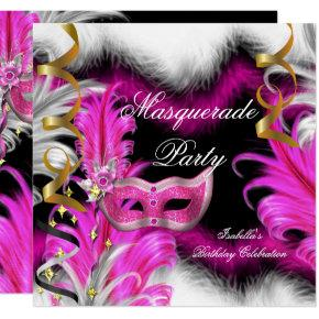 Masquerade Party Birthday Pink Black White Invitation