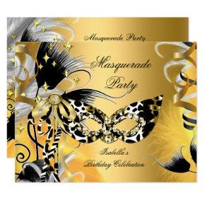 Masquerade Party Birthday Wild Mask Black Gold 2 Invitations