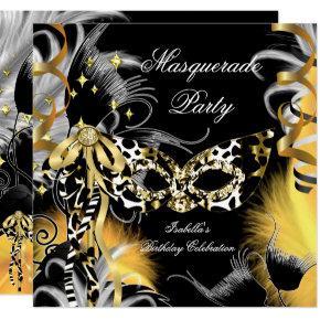 Masquerade Party Birthday Wild Mask Black Gold 3 Invitation