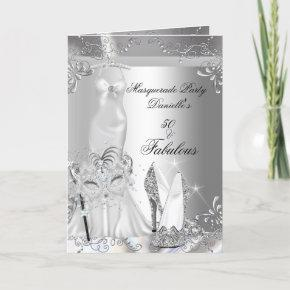 Masquerade Party Fabulous 50 Birthday Silver Invitation