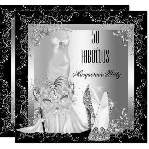 Masquerade Party Fabulous 50 Birthday Silver Invitation