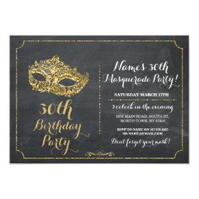 MASQUERADE Party Gold Mask Invite 30th 40th 50th