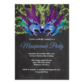 Masquerade Party Magical Night Blue Purple Green Invitation