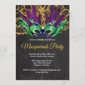 Masquerade Party Magical Night Green Purple Gold Invitation