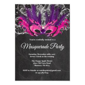 Masquerade Party Magical Night Pink Purple Silver Invitation