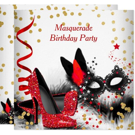 masquerade party red heels white gold black mask invitations