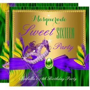 Masquerade Party Sweet 16 Purple Green Gold Invitations